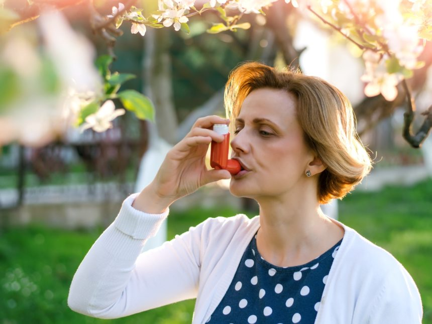 Allergic Asthma Inhaler Outdoors