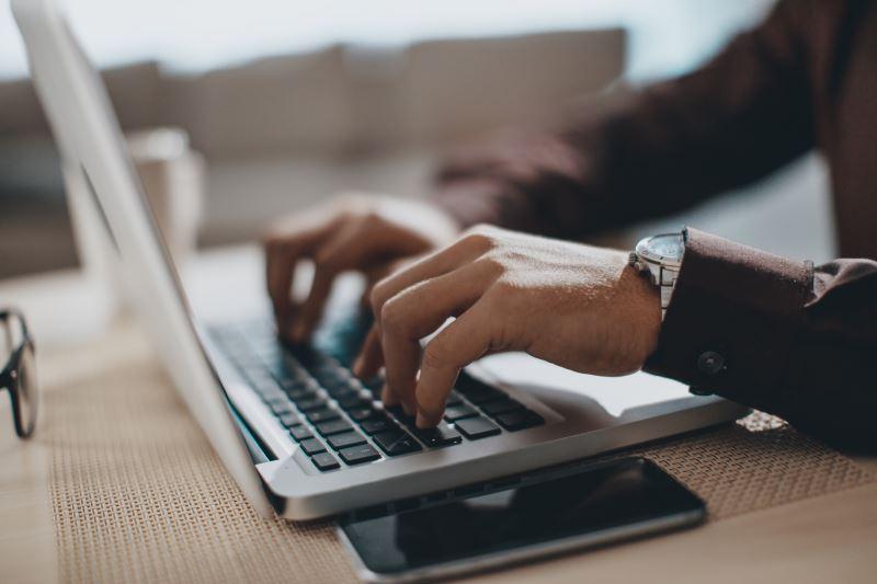 A clinician using a computer