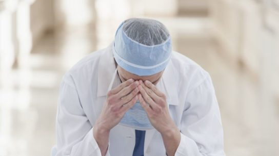 Stressed physician.