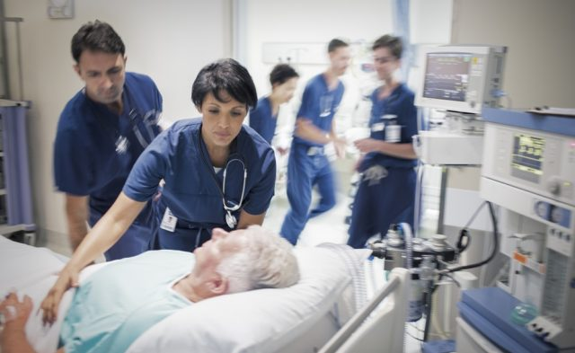 Elderly patient in the ICU
