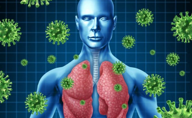 Lung infection concept illustration
