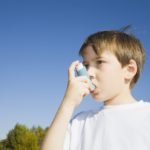 Pediatric asthma, child with inhaler