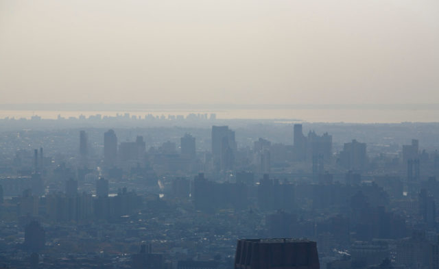 Smog over New York City Skyline, air pollution
