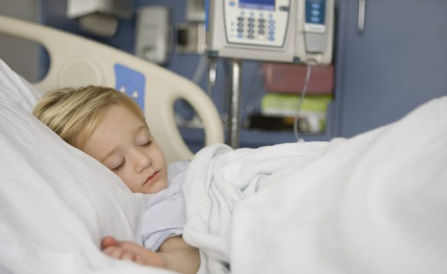 Child recovering in hospital