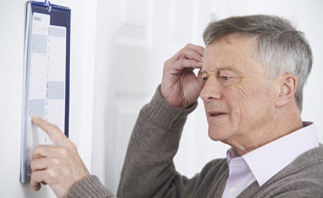 Dementia in an elderly patient determined by the VAT.
