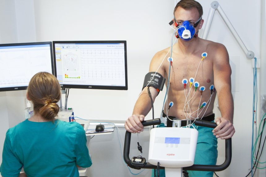 man doing cardiopulmonary exercises