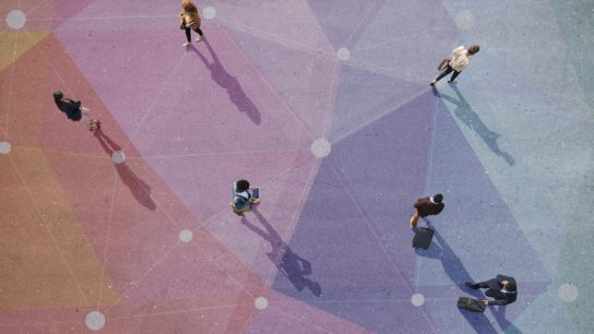 social distance birds eye view of people walking at a distance